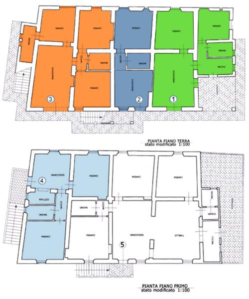 Agriturismo Il Poderino | Bibbona (LI) | Esterno zona ristoro | Planimetria appartamenti